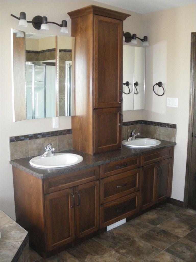 Double Sink Vanity With Storage Tower Bathroom Vanity