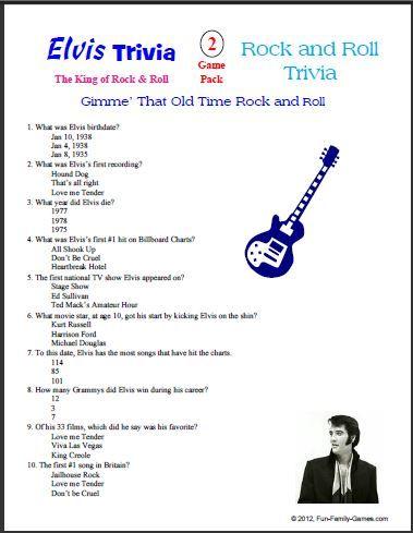 picture regarding Printable Trivia for Seniors called Elvis+Presley+Printable+Trivia Elvis Elvis birthday