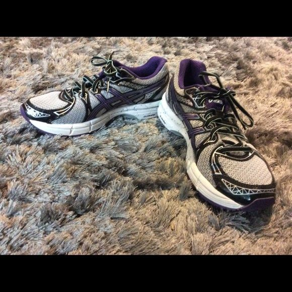 ASICS RUNNING SNEAKERS Gray, purple and white.  Worn twice in excellent condition asics Shoes Athletic Shoes