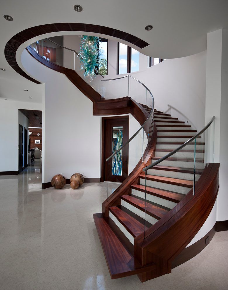 Best Two Tone Stairs Staircase Contemporary With Large Entry 400 x 300