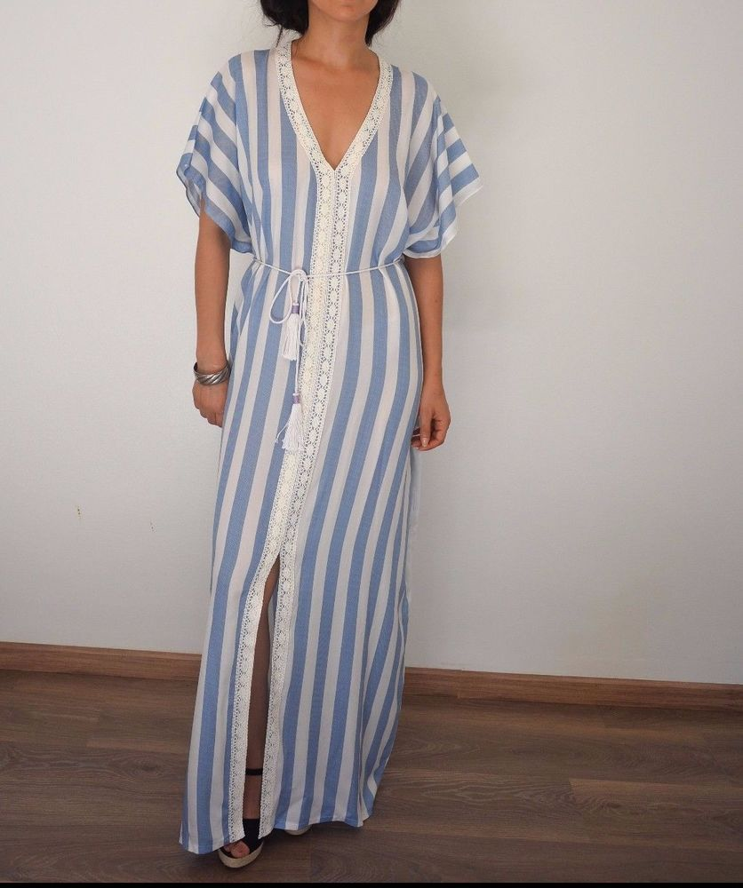 Moroccan caftan linen maxi dress boho oversized kaftan resortwear