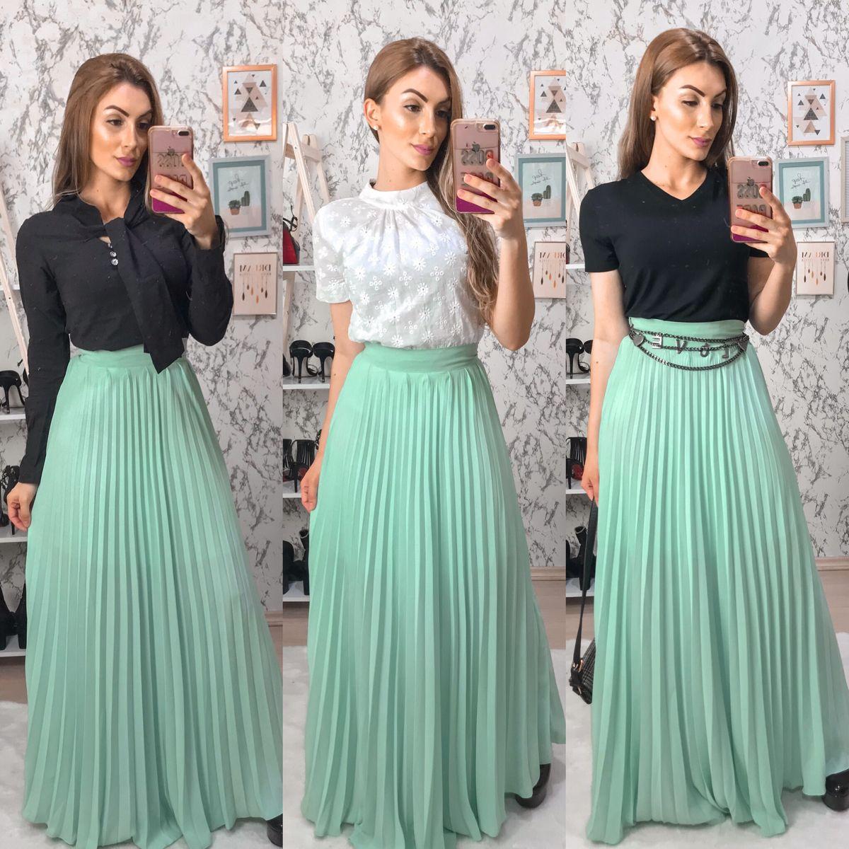Photo of saia longa plissada, três formas de usar