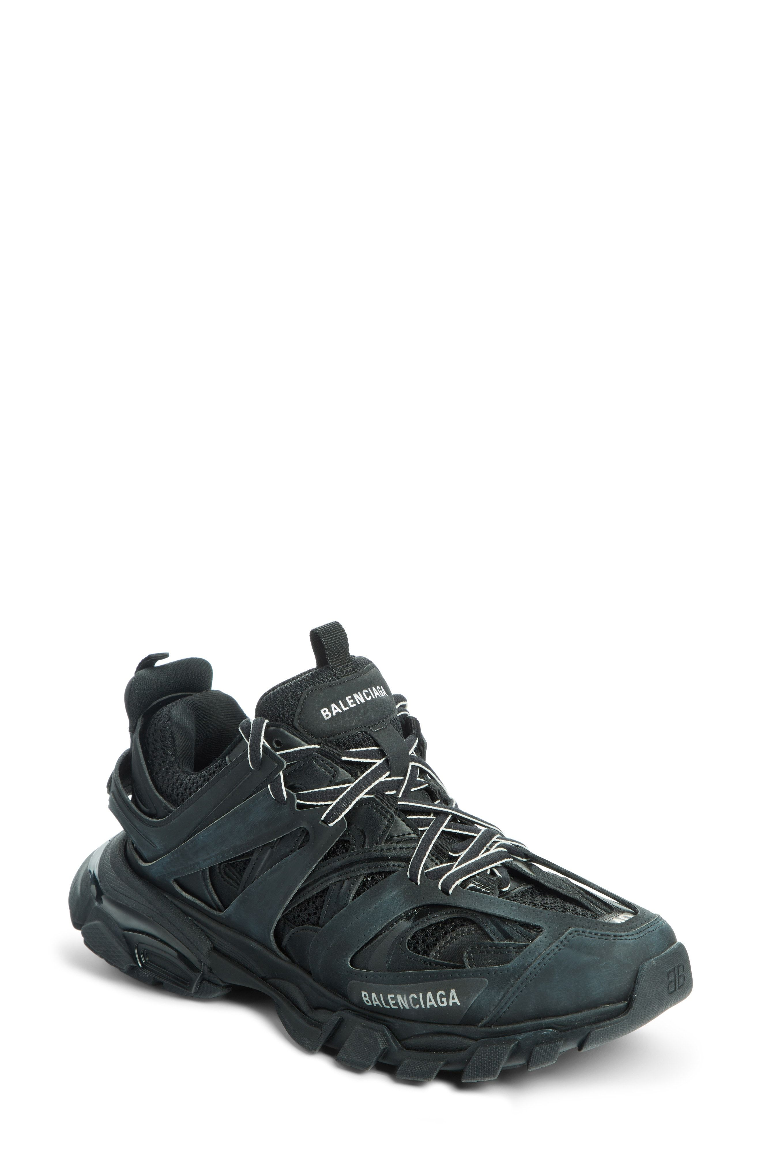 Track Black Leather And Mesh Sneakers In 1000 Black | Womens