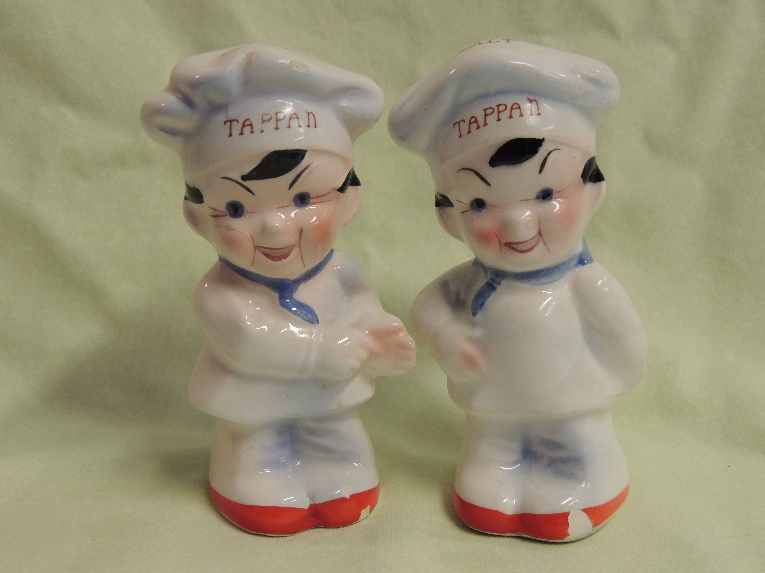 Vintage Glass Chef Salt and Pepper Shakers