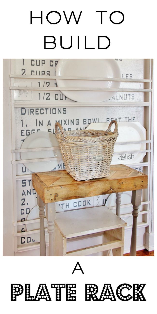 Great project to add a little architectural interest to your home.  Have a blank wall?  Build a plate rack.
