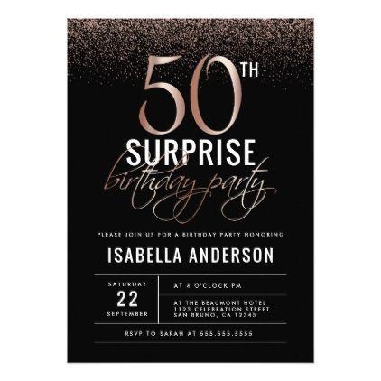 Rose Gold Black 50th Surprise