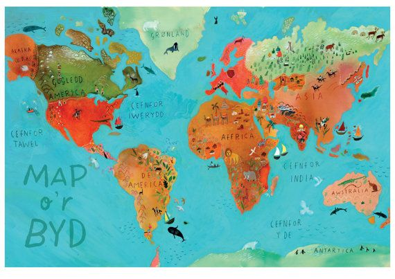 Map ou0027r Byd map of the world by DorrySpikes on Etsy Map \ Travel - copy world map africa continent