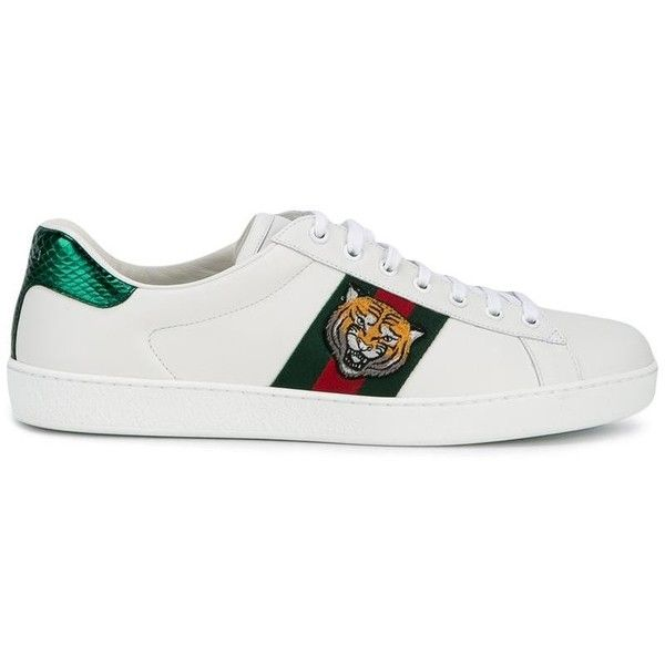 Gucci Gucci Tiger Embroidered Sneakers ($610) ❤ liked on Polyvore featuring  men's fashion,