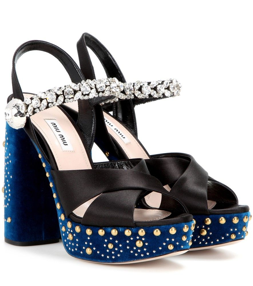 ca43bbfde371 Miu Miu - Embellished satin and velvet sandals - Miu Miu s platform sandals  have been crafted in Italy from glossy satin and…