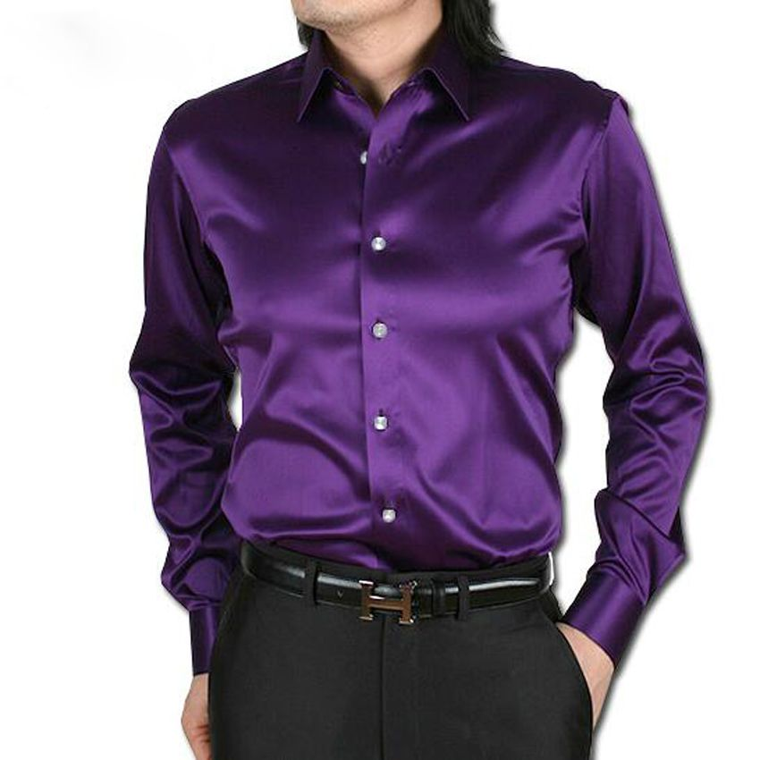 New 2016 men wedding dress shirts High quality long sleeve men silk ...