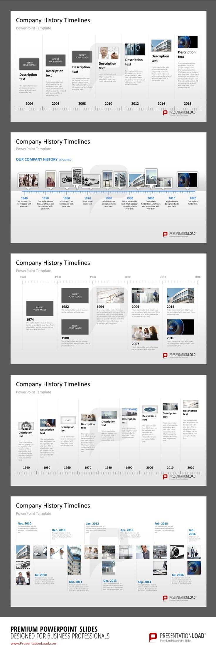 Company History Milestones In A Timeline PowerPoint Template - Project timeline powerpoint template