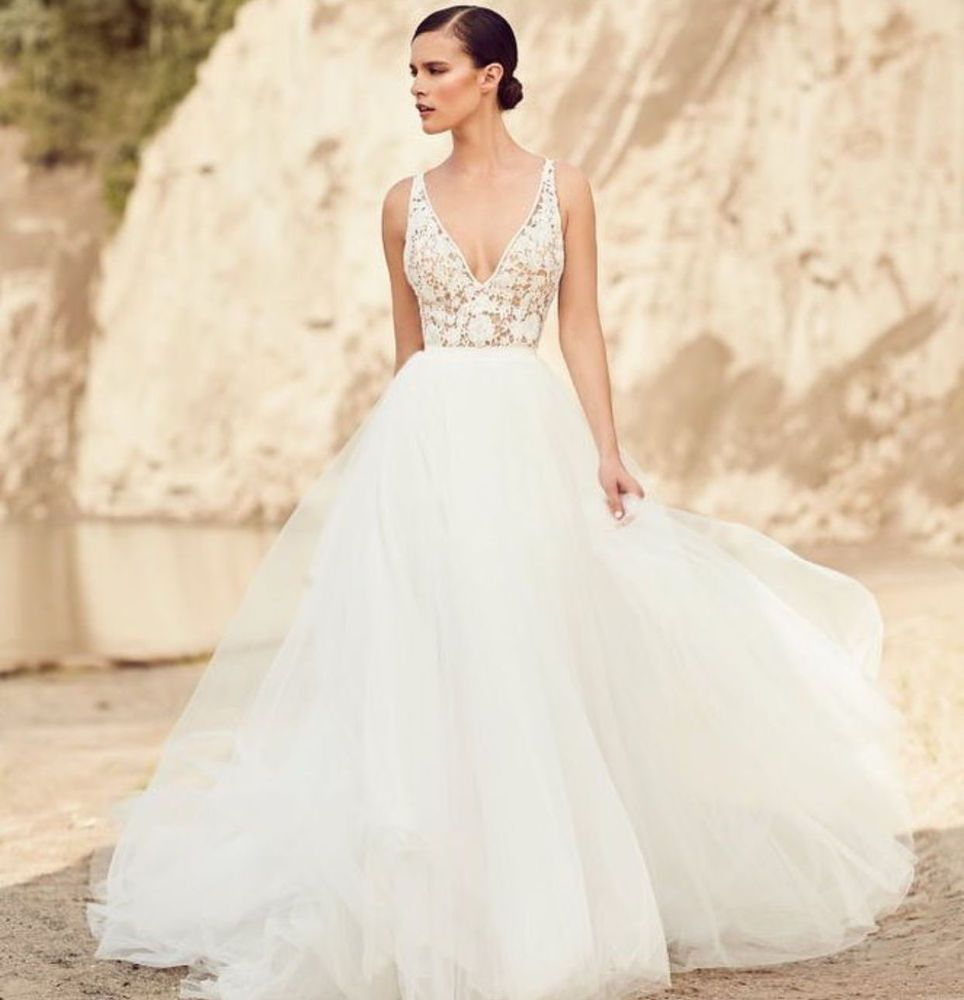 A line tulle wedding dress  Sexy Vneck Lace Bridal Wedding dresses White Ivory Aline Tulle