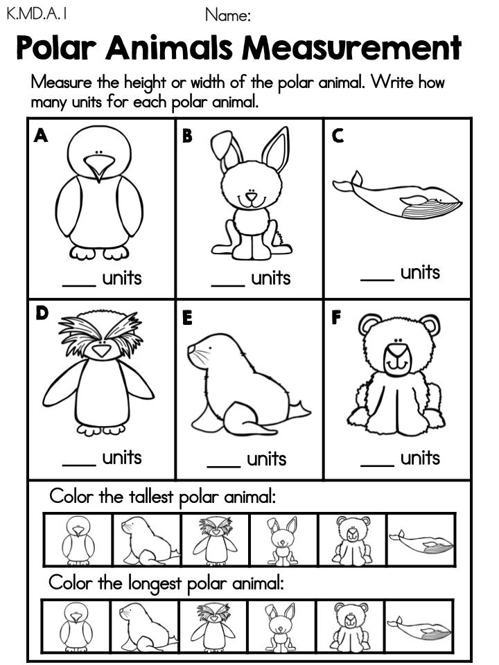 Free Polar Animals Measurement Math Center >> Great as an addition ...