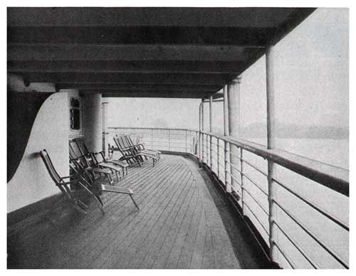 View of the Third Class Deck on the S.S. George Washington of the United States Lines (1920s).