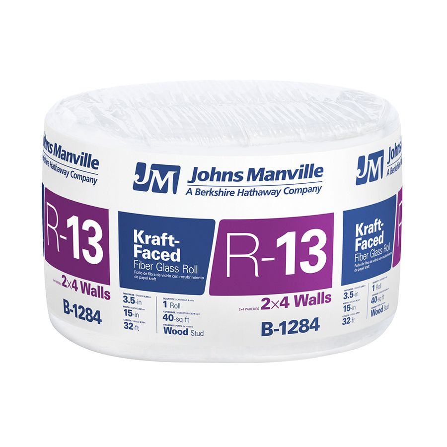 Johns Manville R 13 40 Sq Ft Single Faced Fiberglass Roll Insulation With Sound Barrier 15 In W X 32 Ft L With Images Roll Insulation Fiberglass Insulation Manville