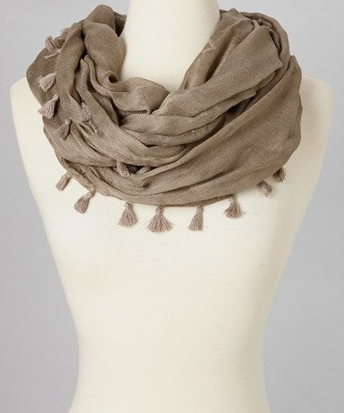 Take a look at this Light Brown Tassel Infinity Scarf by SAKA INC. on #zulily today!