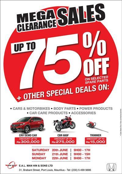 E.A.L. Man Hin & Sons Ltd - Honda Mega Clearance Sales. Tel: 5499 9886