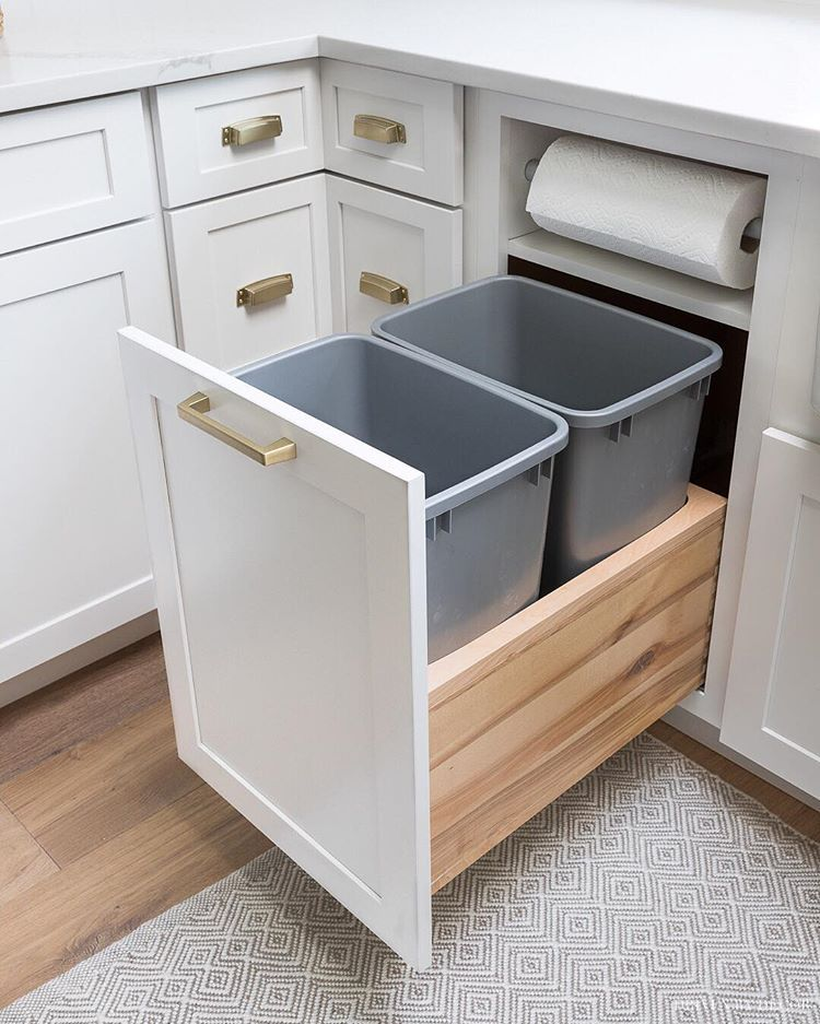 Built In Trash Cans And Paper Towel Holders Kitchen Cabinets
