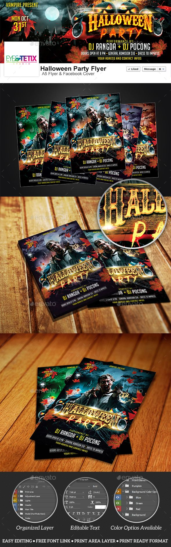 Halloween Party A5 Flyer + Facebook Cover Template | Flyers ...