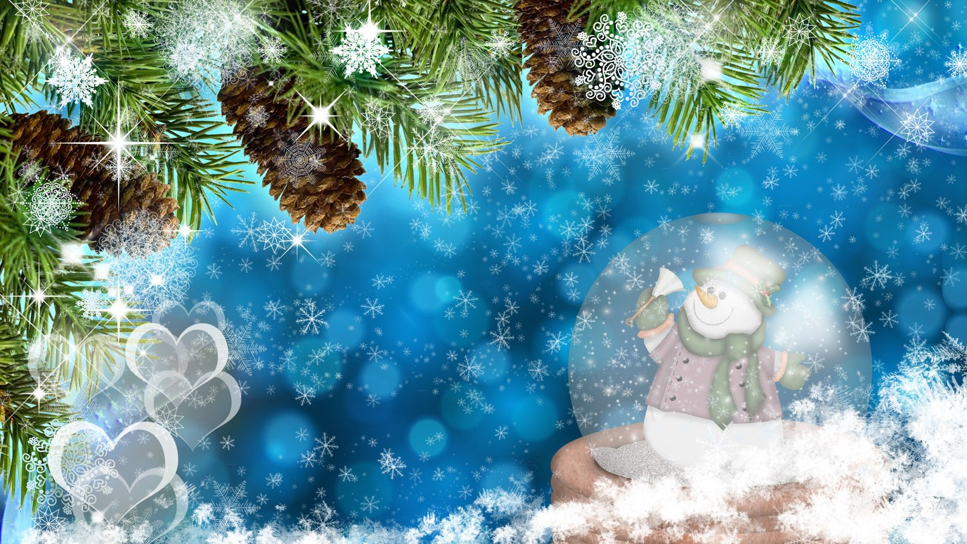 Snowman Christmas Desktop Wallpaper Holiday Wallpaper Globe Wallpaper