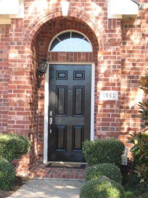 Recessed Front Door Brick Lines The Area Narrow Trim And Black