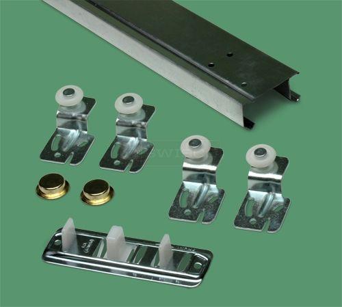 2 Door Sliding Closet Door Track Kit 4ft Sliding Door Hardware