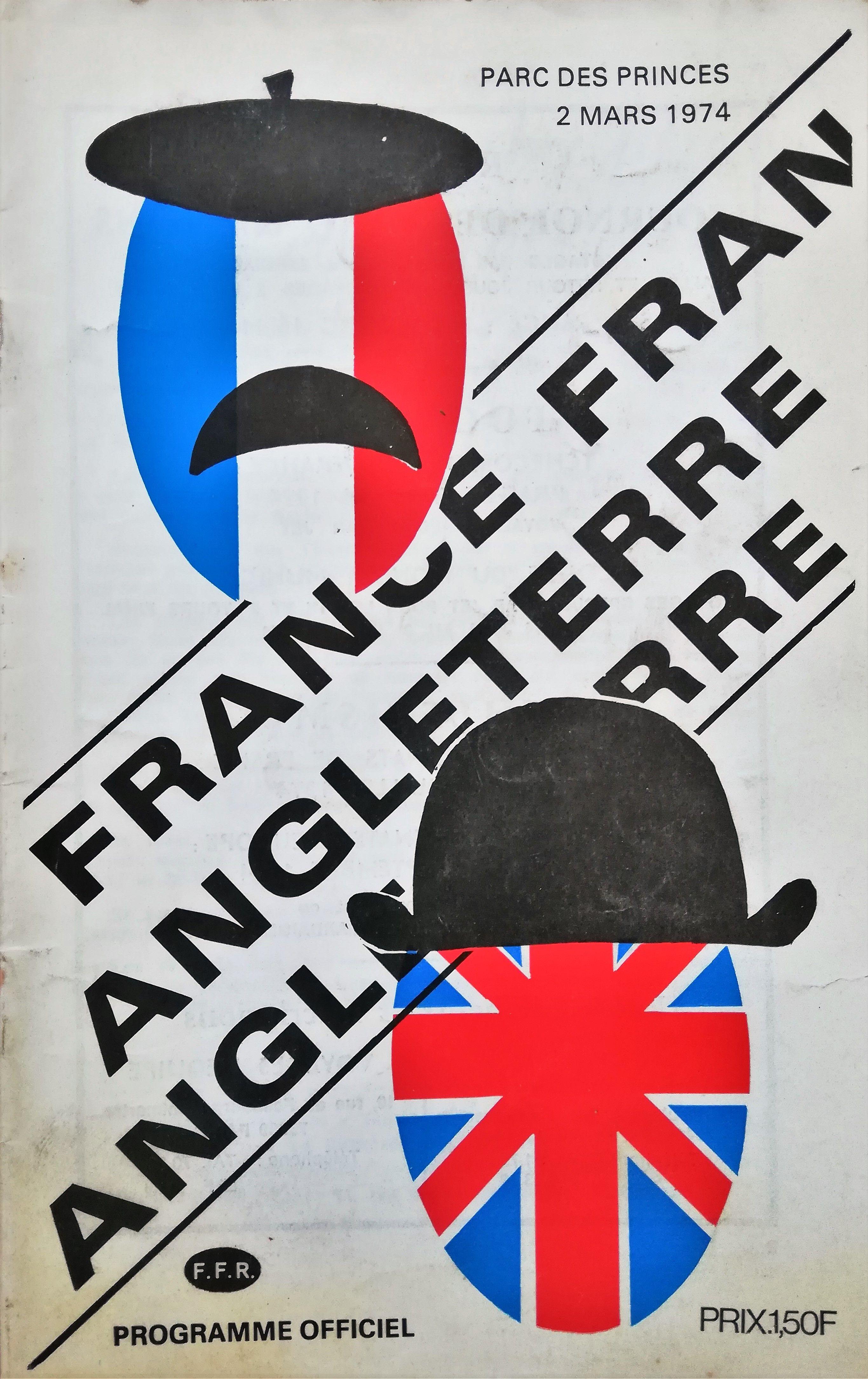 France v England 1974 Rugby Programme in 2020 France
