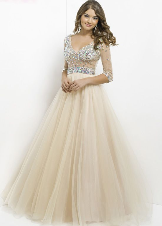 Pink by Blush 5333 - Nude Illusion Beaded Ball Gown Prom Dresses ...