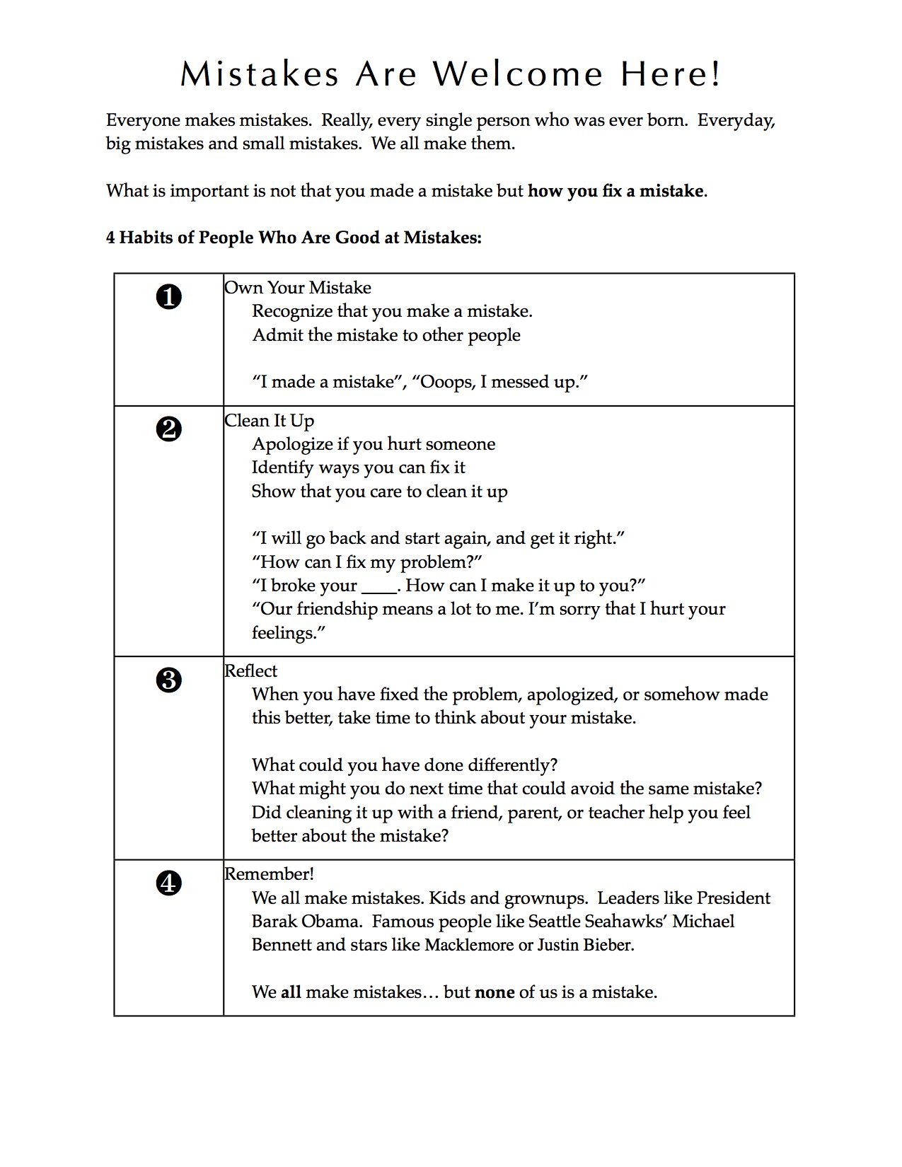 Worksheet To Help Kids See Mistakes As Just A Problem To