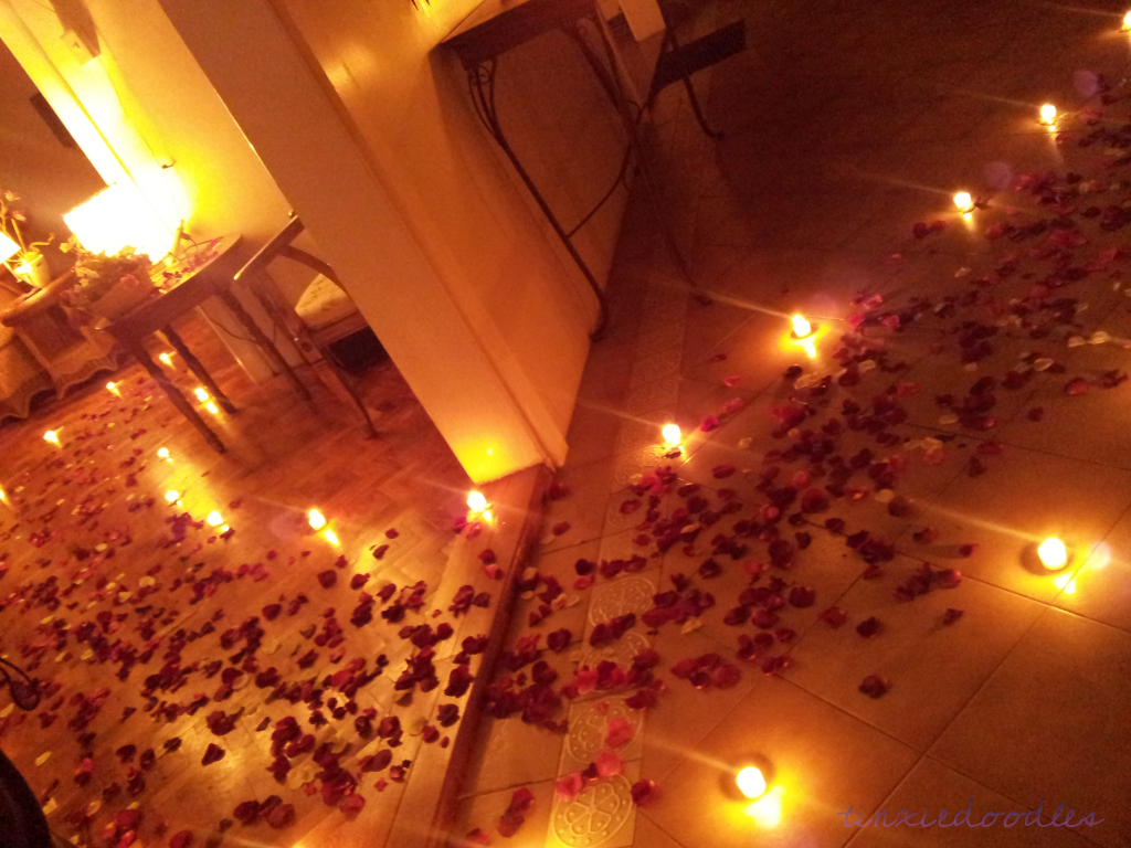 Romantic bedroom rose petals - Another View Of The Romantic Event Rose Petals And Candlelit Pathway Sad To Say