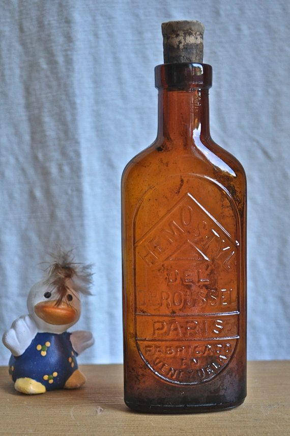 Antique French Amber MEDICINE BOTTLE Embossed by frenchvintagechic, $25.00