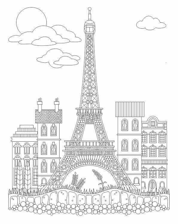 Advanced coloring eiffel tower coloring page Coloring Pinterest