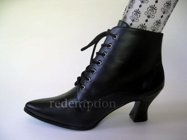 Womens Traditional Black Pointed Witch Shoes