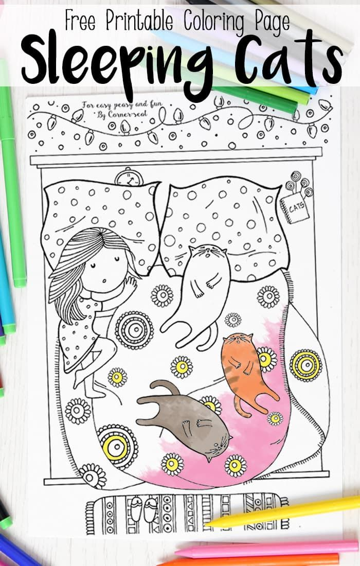 Sleeping Cats Coloring Page - Coloring Pages for Adults