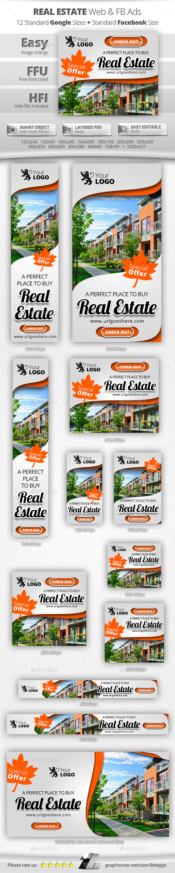 real estate web fb ads template psd banner webbanner design download