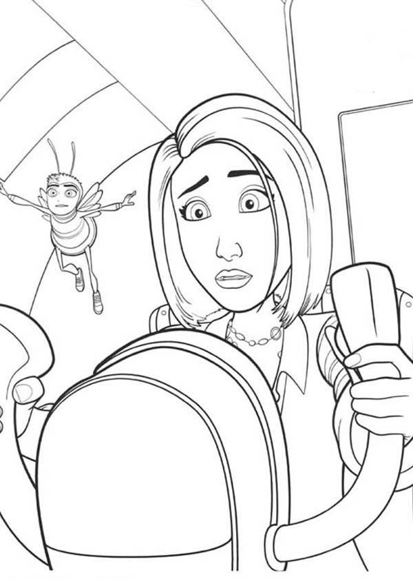 Vanessa Try To Drive An Airplane In Bee Movie Coloring Pages Bulk Color Bee Movie Coloring Pages Coloring Pictures