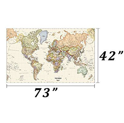 Amazon map shops huge framable world wall art poster 42x73 amazon map shops huge framable world wall art poster 42x73 great gift for global history travel buffs classic incredibly detailed poster is gumiabroncs Choice Image