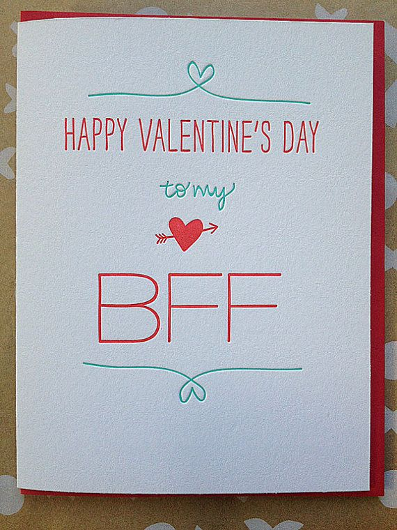 Best Friend Valentine Card   Letterpress Valentine For BFF Best Friend Or  Single Friend Valentine