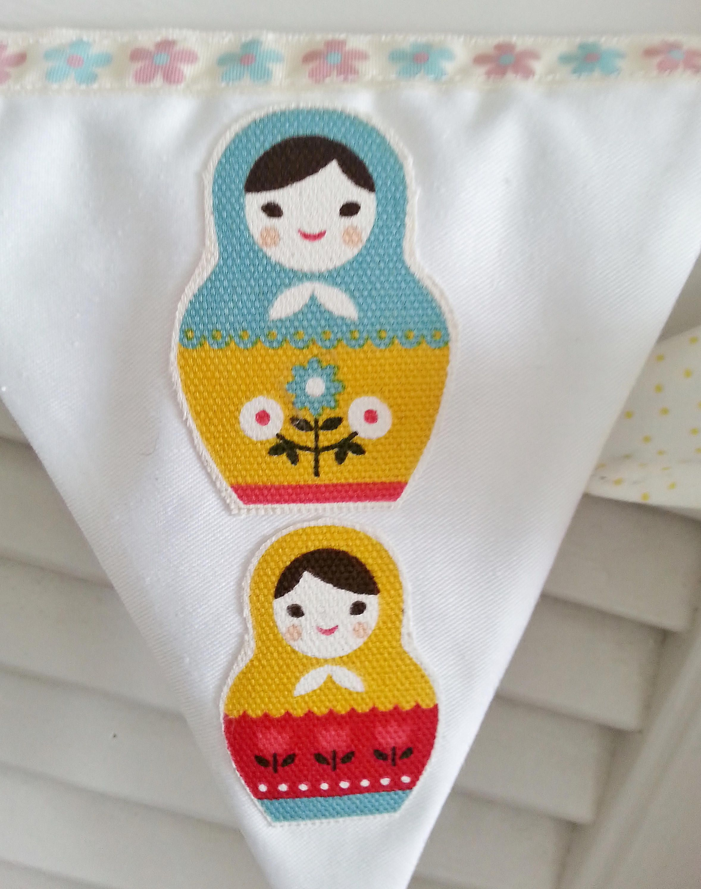 Russian doll bunting, Baby girl bunting, baby bunting, baby shower gift, nursery decor, baby girl banner, fabric bunting, baby girl nursery by MyWildeHeartUK38 on Etsy