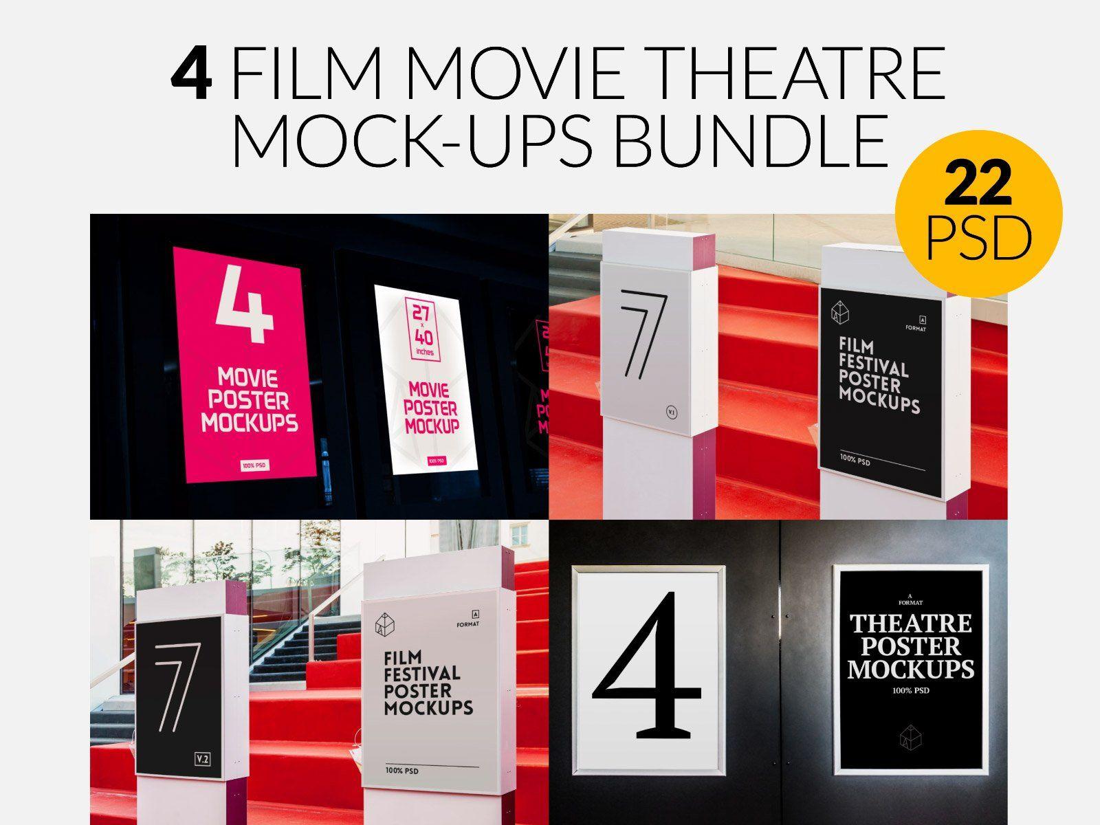 4 Film Movie Theatre Poster Mock Ups Theatre Poster Poster Mockup Film Movie