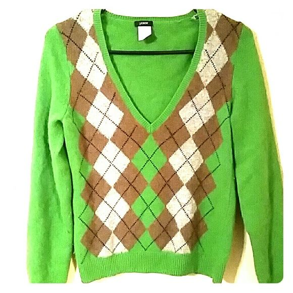 J. Crew Argyle Sweater NWOT Green, brown, and grey argyle sweater. Soft, warm. Hardly worn J. Crew Sweaters V-Necks