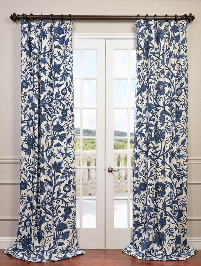 Norway Embroidered Cotton Crewel Curtain Drapes Blue Curtains