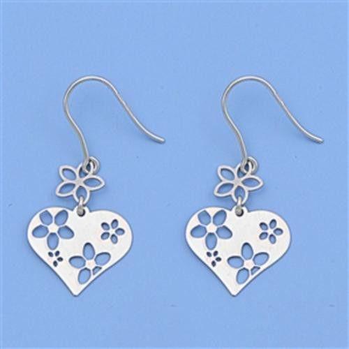 Sterling Silver Heart Star Flower Dangle Earrings