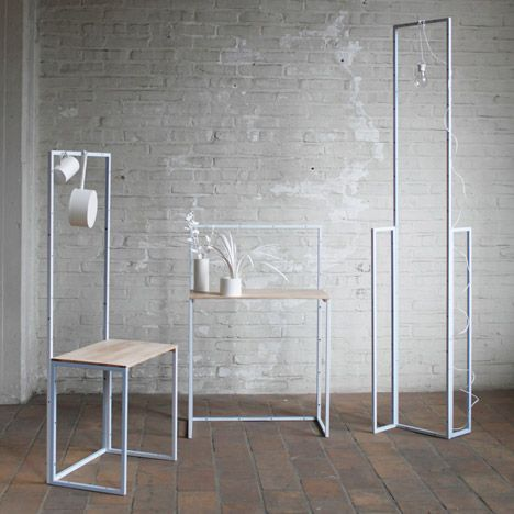 Furniture Design Metal steel frames are bolted collectively to form versatile order