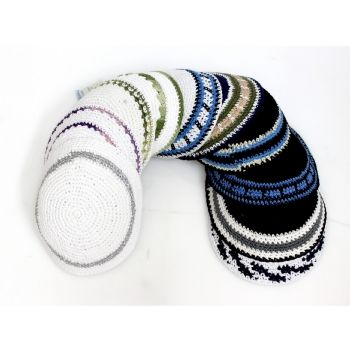 Knitted Kippot Knit Pattern Kippot Designs - ahuva Judaica | Bar ...