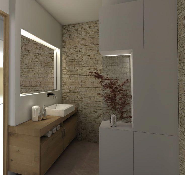 architecture intérieure salle de bain contemporaine nature pierre et