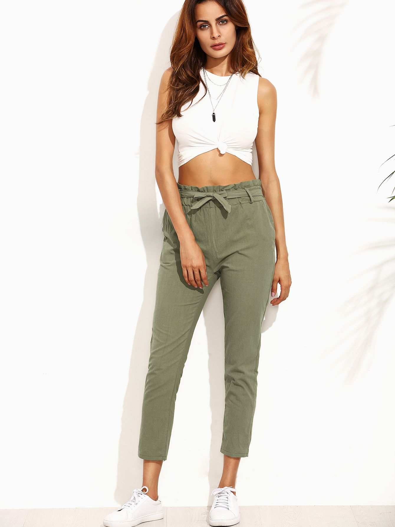 a91c505fdf Army Green Ruffled Tie Waist pants -SheIn(Sheinside) | Virtual ...