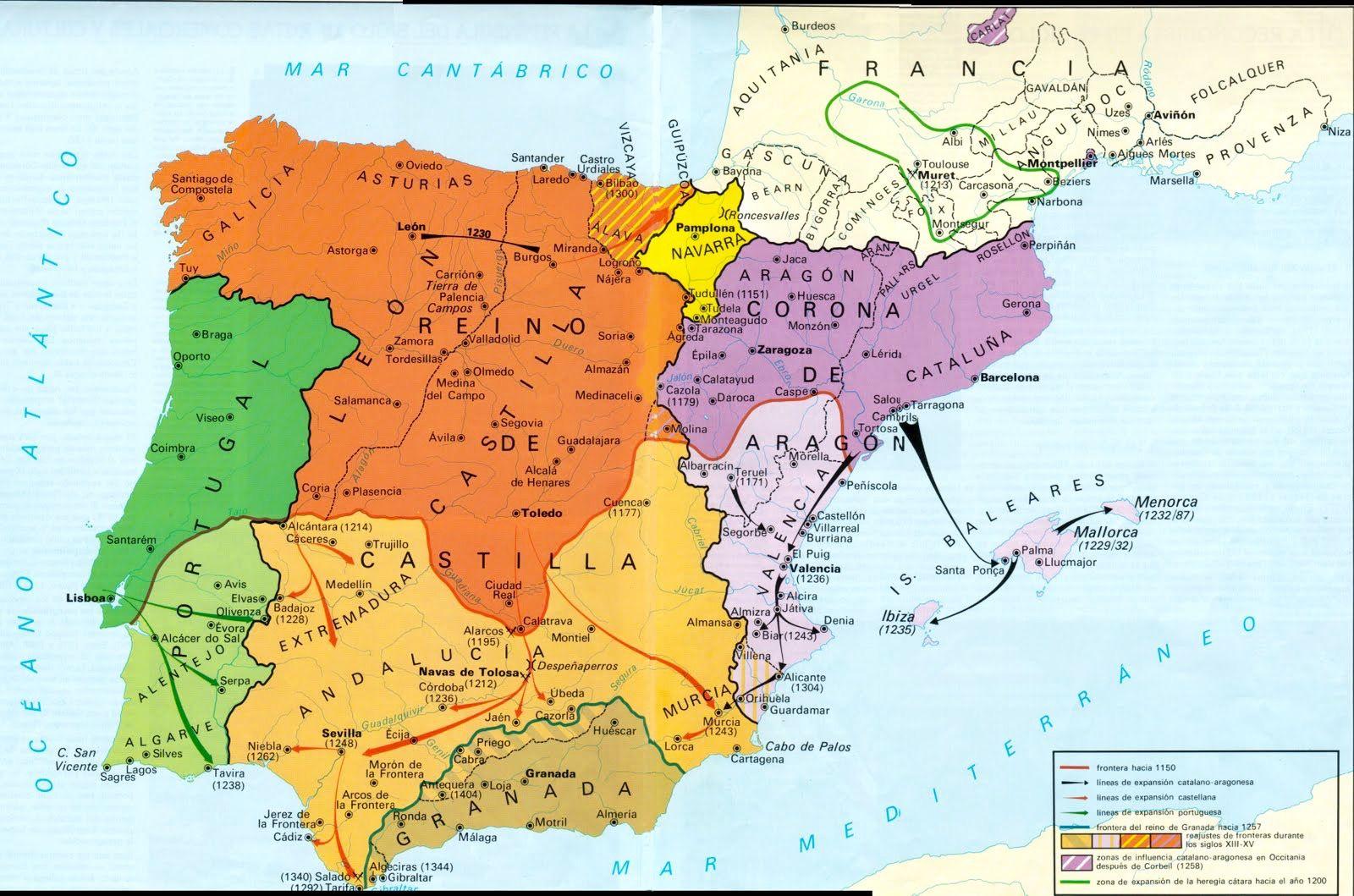 Mapa España Siglo Xv.Peninsula Iberica Conquistas Cristianas De Los Siglos Xiii