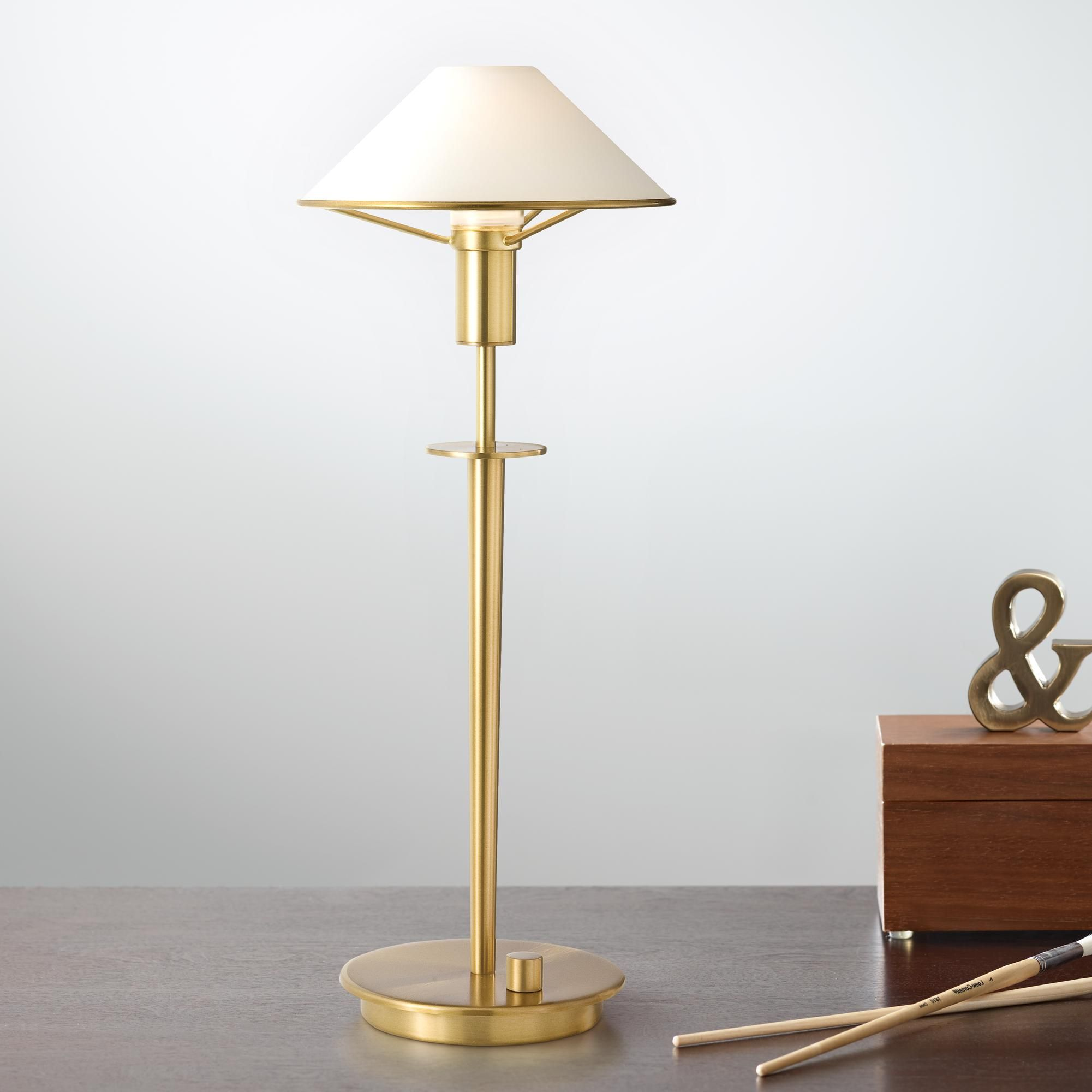 Holtkoetter Antique Brass True White Glass Desk Lamp Glass Desk