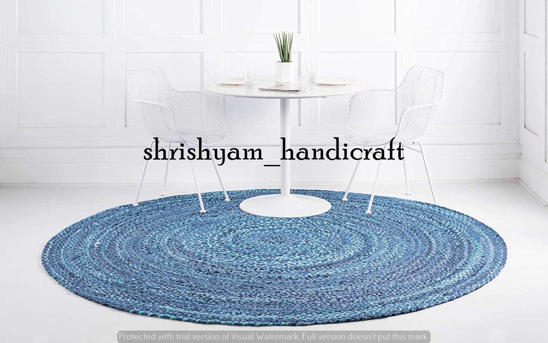 Hand Braided Bohemian Colourful Cotton Chindi Area Rug Multi